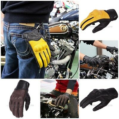 Vented Leather Motorcycle Gloves Knuckle Shell Protection Carabiner Performance