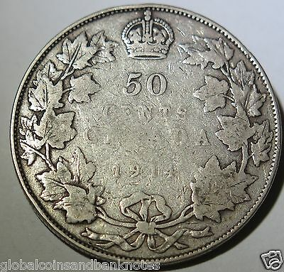Canada 1914 George V  Silver 50 Cent