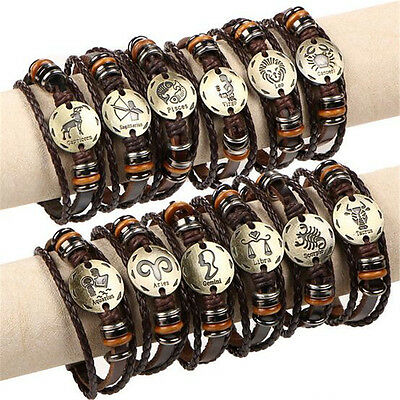 Womens Mens Braided Leather Bracelet w/ Stainless Steel Buckle 12 Constellation
