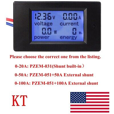DC 6.5~100V 20-50-100A LCD Digital Combo Panel Display Volt Amp Power Watt Meter