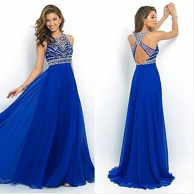 Women Backless Wedding Bridesmaid Long Evening Party Ball Prom Gown Dress