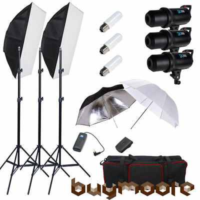 900W Photo Studio Fan Cooled Strobe Flash Softbox Light Stand Lighting Kit Set