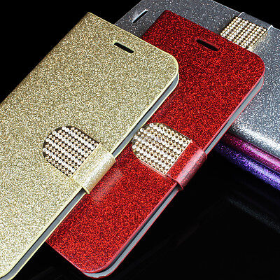 For Samsung Galaxy S6 / S6 Edge PU Leather Glitter Bling Wallet Flip Pouch Case