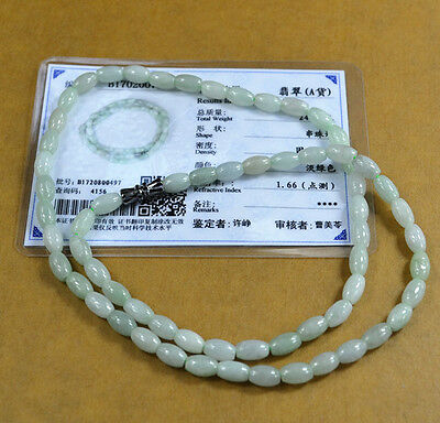Light green 100% Natural A JADE JADEITE Bead Beads Necklace Bride jewelry C0102