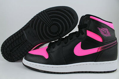 Nike Air Jordan 1 Retro High Hi Black/hyper Pink/white Women Girls Us Youth Size