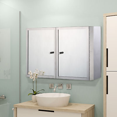 HOMCOM Stainless Steel Cabinet Mirrored Double Doors Wall Mounted Shelves