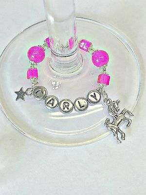 Personalised Unicorn Wine Glass Charm :mothers Day Birthday /hen Party Prom Gift