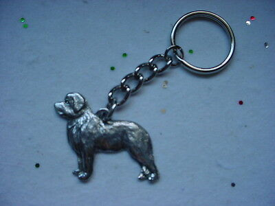 NEWFOUNDLAND Fine PEWTER Silver DOG KEYCHAIN / CHRISTMAS ORNAMENT Key Ring Puppy