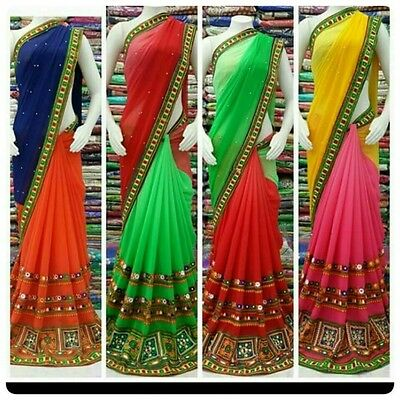 Embroidery Designer Sari Indian Traditional Ethnic Bridal Navratri Party Wear Ne
