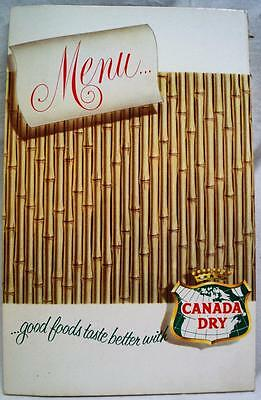 Lot Of 4 Canada Dry Ginger Ale Advertising Blank Restaurant Menus Vintage