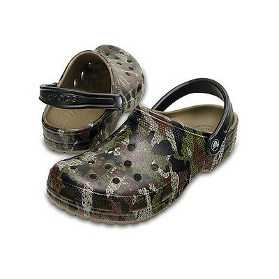 Crocs New Men's Classic Clog Khaki Green Camo Fishing Shoe Bivvy Slipper