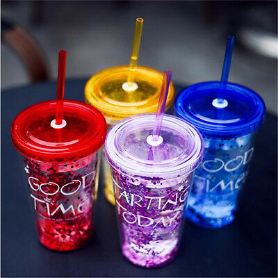 Fashion BlingBling Summer Straw Cup 450ml Double Plastic Cup Water Bottle FG