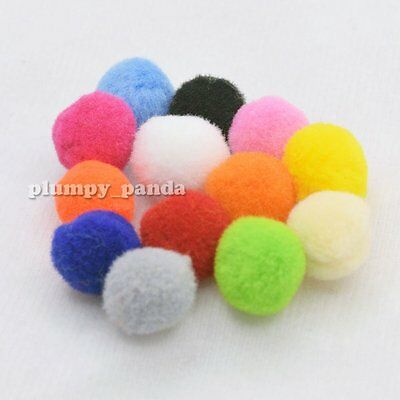 Mixed Color Fluffy Pom Pom Pompoms Soft Feel Fuzzy Plush Ball Shaped Multi Sizes