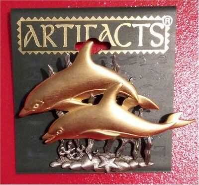 New Limited Edition Finely Detailed Dolphin Pair with Pewter Seaweed Pin by JJ