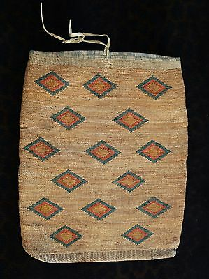 Outstanding Antique Nez Perce Corn Husk Bag 14' X 17""