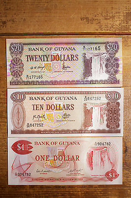 Set of 3 diff. Guyana paper money 1, 10 and 20 Dollars Au-Unc.