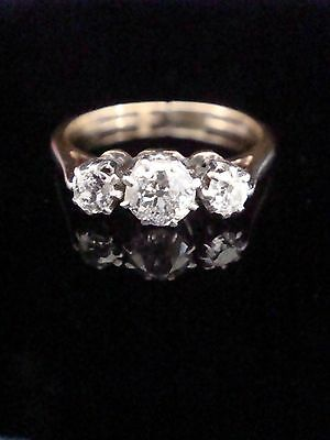 Edwardian 18Ct Platinum 3 Stone Old Cut Diamond Ring 0.45Ct