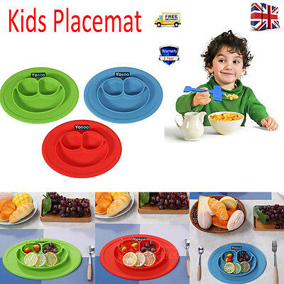 Silicone Happy Mat Kids Suction Table Food Tray Placemat Plate Bowl Dining Dish
