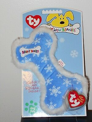 Ty Bow Wow Beanies ~ LIL/' PINK STRIPE BONE Crinkle//Squeak Toy NEW w// MINT TAGS