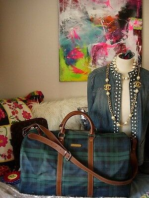 RARE Vintage RALPH LAUREN Blackwatch Plaid Duffle Keepall Carry On Tote Luggage