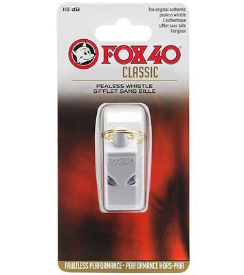 Fox 40 Classic Whistle, Referee-Coach, Safety Alert, Dog, Rescue, Lifguard-White