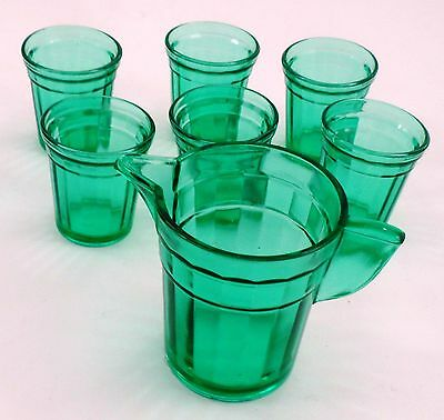 Akro Agate Green Paneled 7 Pc Playtime Child's Water Pitcher Tumblers Glasses