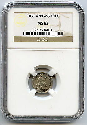 1853 With Arrows Seated Half Dime NGC MS 62