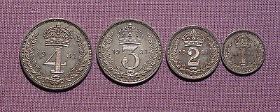 1931 KING GEORGE V SET MAUNDY COINS - 4d to 1d