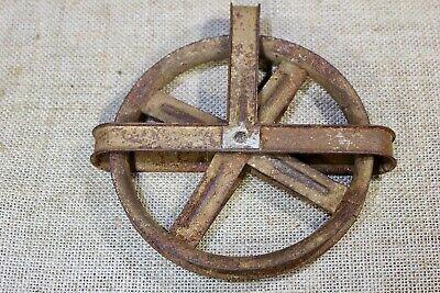 "5 3/8"" clothes wash line barn pulley old rustic steel rusty steampunk vintage"