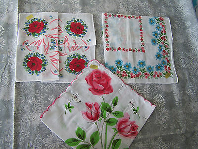 3 pcs ladies' handkerchief, handkerchiefs, hanky; red flowers; wedding, Lot #6