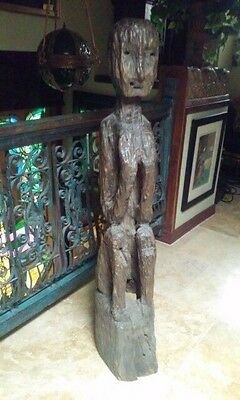 Early Primitive seated female bulul figure early 19th c ( UPS to Pack ship big )
