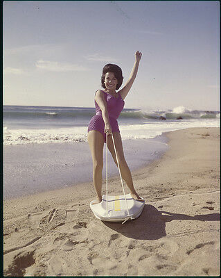 ANNETTE FUNICELLO classic Vintage photo on surfboard Original 5x4 Transparency