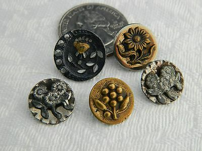 LOT Antique Vintage Victorian metal Buttons FLOWER Pattern some steel cups