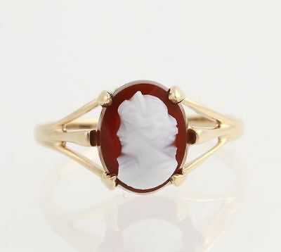 Vintage Carved Hardstone Agate Cameo Ring - 14k Yellow Gold Women's Size 6 1/4