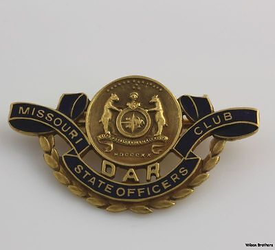 DAR Missouri Officers Club Pin - 14k Gold Daughters of the American Revolution