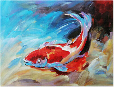 Hand Painted Koi Fish Oil Painting On Canvas - Modern Nautical Animal Wall Art