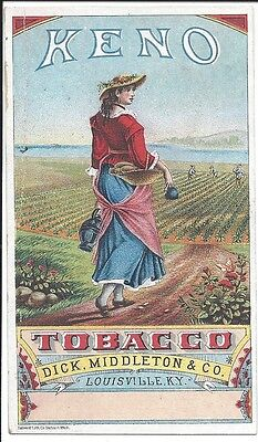 Colorful Trade Card, Keno Tobacco, Dick Middleton Co., Louisville KY, 1880s