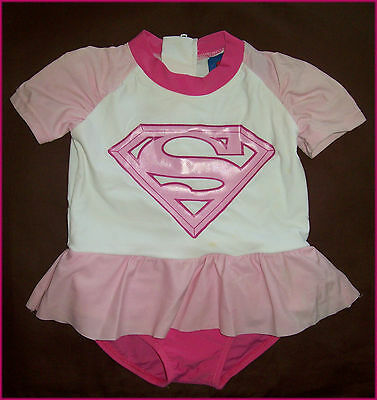 SUPERMAN PINK Baby Sunsuit 0 00 000 1 SWIMWEAR BATHERS Togs Rash NEW Factory 2nd