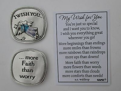 o 1x More faith than worry angel MY WISH FOR YOU POCKET TOKEN CHARM ganz