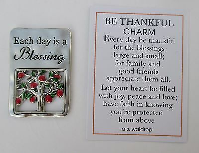 s Each day is a blessing BE THANKFUL POCKET token charm apple tree family friend