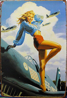 Collectibles Pin-up Girl poster Vintage metal Tin signs Home wall Plaque