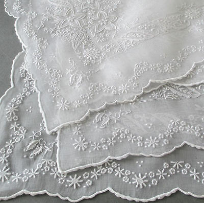Set 8 FABULOUS Vintage Elaborate WHITEWORK Hand Embroidered ORGANDY Placemats