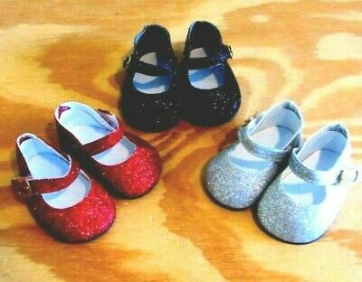 Shoe Lot RED BLACK SILVER GLITTER Shoes for 18 Inch American Girl Doll Clothes