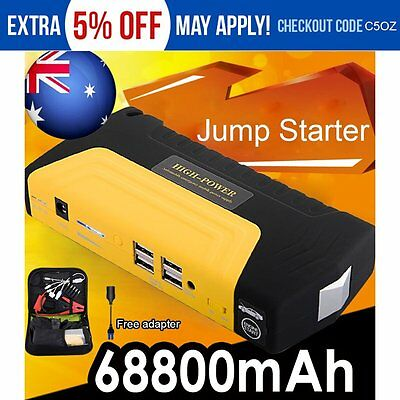 68800mAh 4USB Auto Car Jump Starter Emergency Charger Booster Power Bank Battery