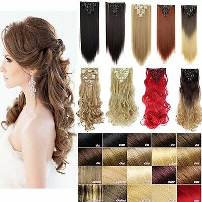 100% New full head clip in hair extensions Double Weft 8 piece As human Hair WG1