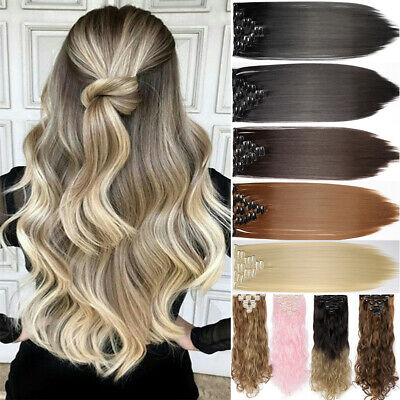 2017 Real Thick 8 Piece CLIP IN HAIR EXTENTIONS FULL HEAD STRAIGHT CURLY WAVY WG
