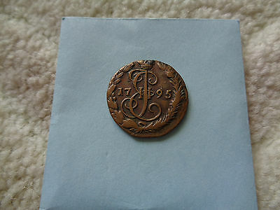 1795 Russia Catherine The Great DENGA copper coin Better Grade!