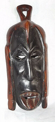 Vintage Antique Patina Hand Carved Hard Wood Small African Mask Wall Hanging