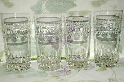 IMPERIAL GLASS OHIO HAMPTON HIGHBALL (4 available) polished cut dots   EXC