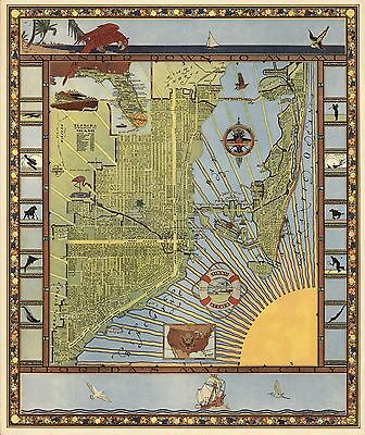 1935 pictorial map Miami landmarks railroads inset of Hialea Park POSTER 8495002